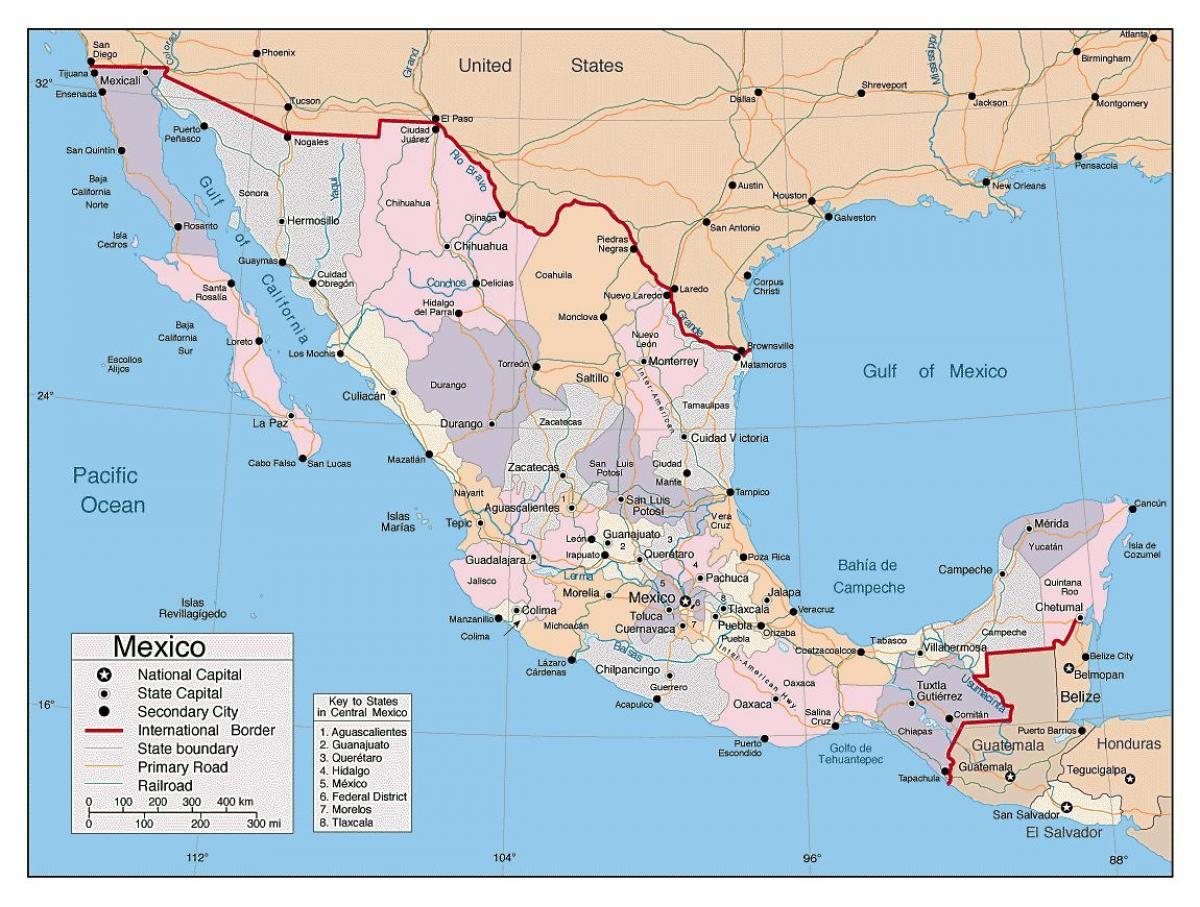 Amerika Gradovi Karta.Karta Meksika Velikim Gradovima Meksiko Karta Sa Svim Vecim